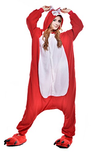 NEWCOSPLAY Unisex Fox Anime Pajamas Costume Adult Animal Cosplay Onesie Dress (M, Red fox) - Red Fox It Adult Womens Costumes