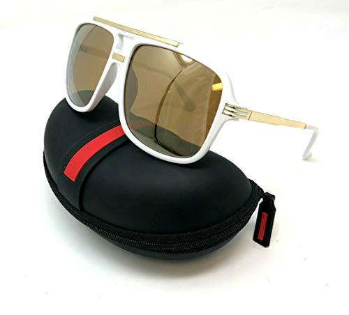 White Mens Sunglasses - Evidence Metal & Plastic Hip Hop Flat Top Aviator Sunglasses (White & Gold Frame w/Case, Gold Iridium Mirror)