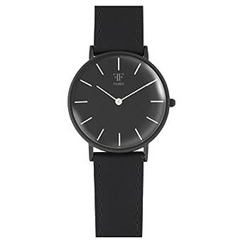 Faber Damen-Armbanduhr Lederarmband EdelstahlgehÄuse Saphirglas analog Quarz F501BK