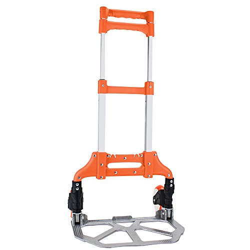 """Heavy Duty Hand Truck & Dolly - 150 lb. Capacity Aluminum Utility Cart with Adjustable Shaft, Folds Down to Just 2"""" by Knack - Moving Equipment, Great for Lifting Boxes & Luggage (Orange)"""