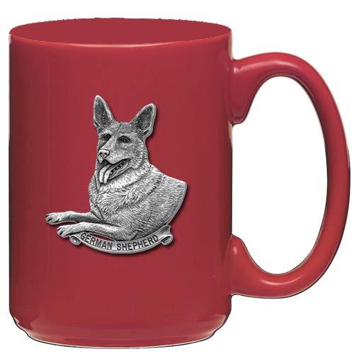 - 1pc, Pewter German Shepherd Coffee Mug, Red