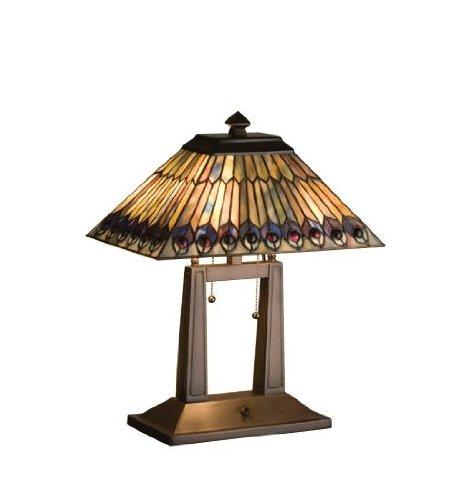 - Meyda Tiffany 26300 Tiffany Jeweled Peacock Oblong Desk Lamp, 20