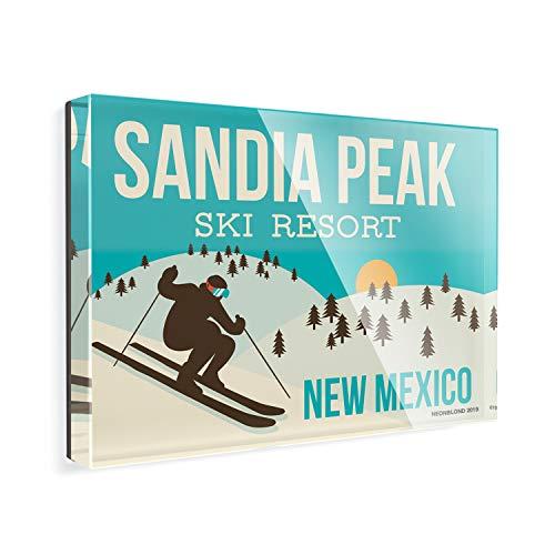 Acrylic Fridge Magnet Sandia Peak Ski Resort - New Mexico Ski Resort NEONBLOND