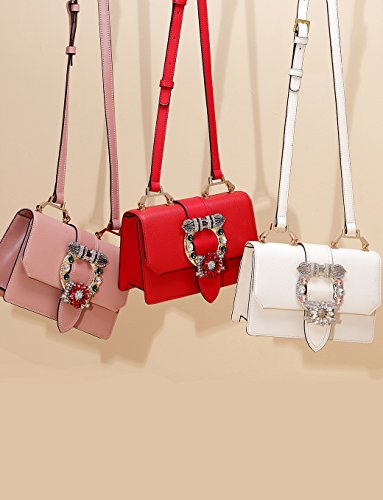 9dc8a68b51f2 LA FESTIN Ladies Cute Bags Dazzling Jewels Shoulder Chain Purse Leather  (Light Pink) - Buy Online in UAE.