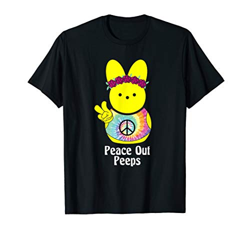 Peace Out Peeps Easter Shirt Tie Dye Hippie Bunny Gift Tee ()