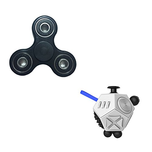 Taold Fidget Dice II 12 Sides Anti-anxiety Relieve Stress and Tri-Spinner Fidget EDC Focus Toy (Black and White)