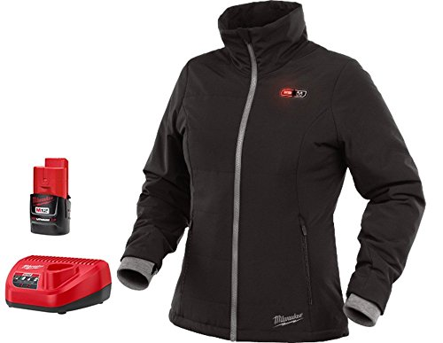 Milwaukee Jacket KIT M12 12V Lithium-Ion Heated Front and Back Heat Zones All Sizes and Colors - Battery and Charger Included (Small, Women-Black)
