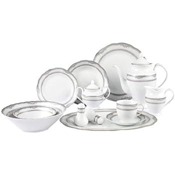 Amazon Com Royalty Porcelain 57 Pc Banquet Dinnerware Set For 8