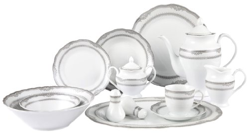 Lorenzo Import Victoria 57-Piece Wavy Porcelain Dinnerware Set - Victoria Fruit Bowl