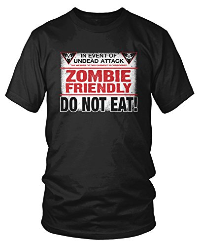 Amdesco Men's Zombie Friendly, DO NOT EAT! T-shirt, Black (Halloween Sayings About Food)