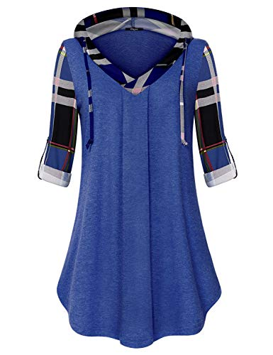 (Ckuvysq Hoodies for Women Ladies Casual Shirt Stylish Youth Workout Fancy Clothes Pilates Polyester Vintage Gathered Blouse Tunic TopBlue XX-Large)