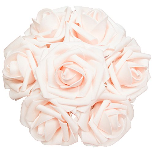 Artificial Flowers 50pcs Real Looking Artificial Roses for Wedding Bouquets Centerpieces Bridal Party Baby Shower Decorations DIY- -