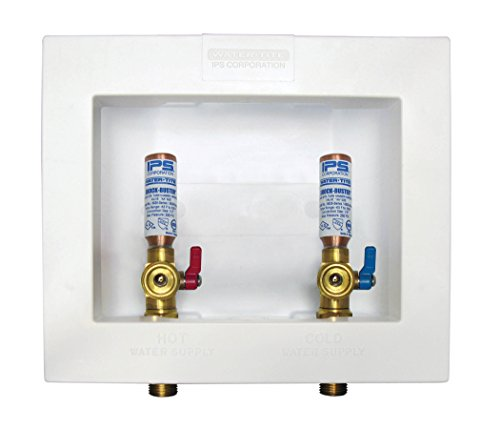 no Center Drain Washing Machine Outlet Box with Brass Quarter-turn Hammer Arrester Valves Installed, 1/2