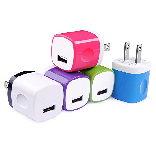 (USB Plug 5 Pack, TePoo 1A 5V Colorful Single Port USB Wall Charger Plug Cube Block Box Compatible with iPhone X 8 7 6S 6 Plus, Samsung Galaxy S9/S8/S7 Edge, HTC, LG, Nexus, Moto, BlackBerry and More)