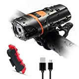 Wastou Bike Lights Super Bright Bike Front Light 1200 Lumen IPX6 Waterproof 6 Modes Cycling Light Flashlight Torch USB Rechargeable Tail Light(USB Cables Included)