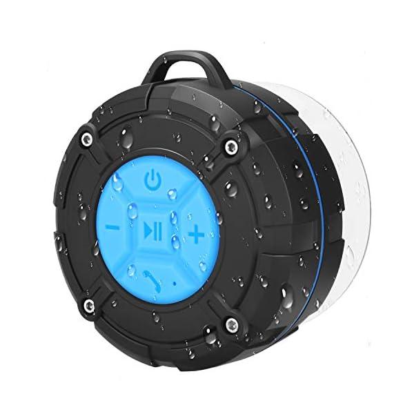 PEYOU Enceinte Bluetooth Portable,Étanche Haut-Parleur de Douche sans Fil IPX7 Parleur à Voix Haute stéréo de Bluetooth 4.2 avec Batterie 400mAh,Ventouse puissante,pour la Plage,Piscine et Cuisine 1
