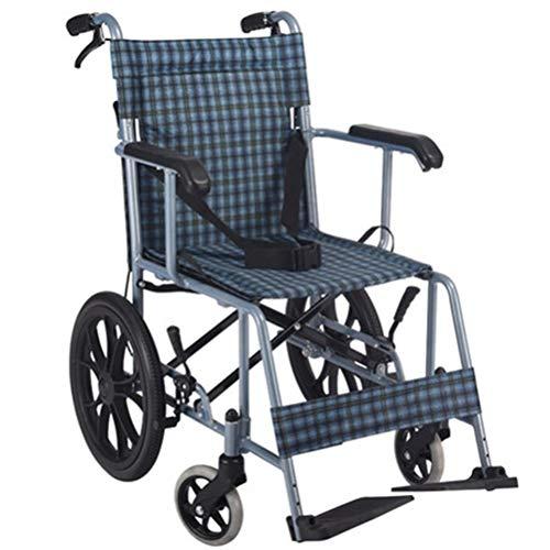 NKDK Wheelchair Aluminum Alloy Wheelchair Lightweight Back Foldable Home Elderly Disabled Scooter