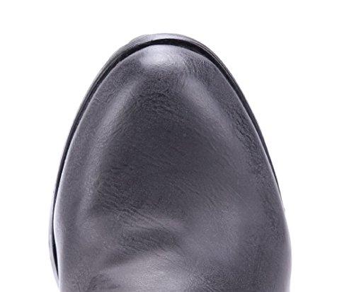 Schuhtempel24 Damen Schuhe Klassische Stiefel Stiefeletten Boots Trichterabsatz Schnalle/Nieten 8 cm Grau