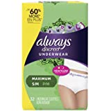 Always Discreet, Incontinence Underwear for Women, Maximum Classic Cut, Small/Medium, 32 Count (2 Pack(32 Count))