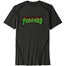 Men's Thrasher Flames Sticker Sport Quick Dry Short Sleeves T-Shirt Black US Size XL