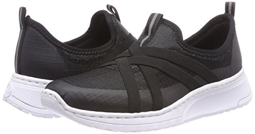 schwarz Zapatillas Mujer Sin schwarz Negro Cordones Para Rieker N5050 schwarz Fq5WS0