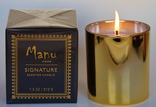 Manu Home Signature Fig & White Tea Luxury Aromatherapy Candle in Gift Box ~ Natural Wax blend ~ Energizing Scent made with Modern Fresh Fig & Tea oils ~ Highly Fragranced~ Long Lasting Burn ~ Great Birthay Day Gift! ~Elegant Packaging! ~ Great Idea for W