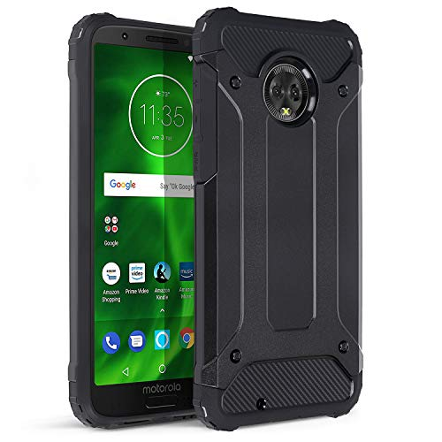Moto G6 Rugged Case, Xawy Revolution Full-Body Rugged Heavy Duty Case with [Built-in-Screen Protector] for Motorola Moto G6 Black