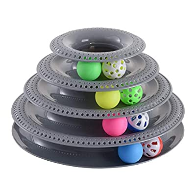 Tower of Tracks Kitten Toys 4 Balls with Bells