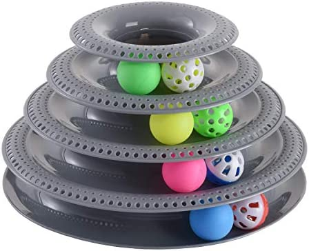 Pets Furst Cat Toys Interactive, Tower of Tracks Kitten Toys, 4 Balls with Bells, 4 Regular Balls, Modern Colors Available, Interactive Cat Toys, 1 Year Warranty 6