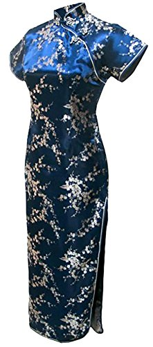 (7Fairy Women's VTG Navy Blue Floral Long Chinese Prom Dress Cheongsam Size 12 US)