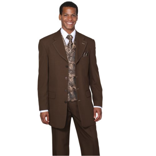 Milano Moda Single Breasted,Double Vent,High Fashion Suit with Matching Vest, Tie & Hankie 48Regular - Double Vent
