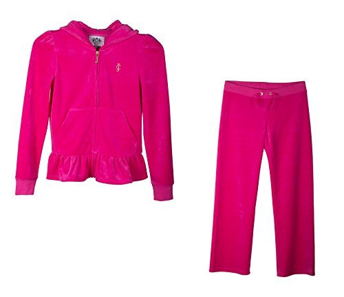 Juicy Couture 2 Piece Fashion Velour, Ruffle Tracksuit; Hoodie & Pants (X-Large, Hot Pink) by Juicy Couture
