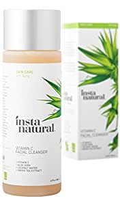 Vitamin C Facial Cleanser - Anti Aging, Breakout & Wrinkle Reducing Face Wash - Clear & Reduced Pores - Organic & Natural Ingredients - Oily, Dry & Sensitive Skin - by InstaNatural - 6.7 OZ