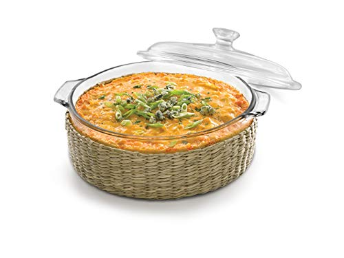 s Glass Casserole Baking Dish with Cover and Basket, 2-quart ()