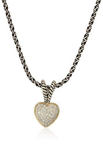 Effy Jewelry Heart - Effy Womens 925 Sterling Silver/18K Yellow Gold Diamond Pendant Necklace, 18