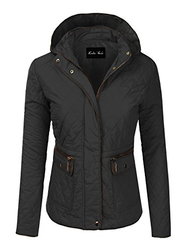 Lightweight Quilted Padding Zip-up & Button Jacket w/ Hood Black L Size