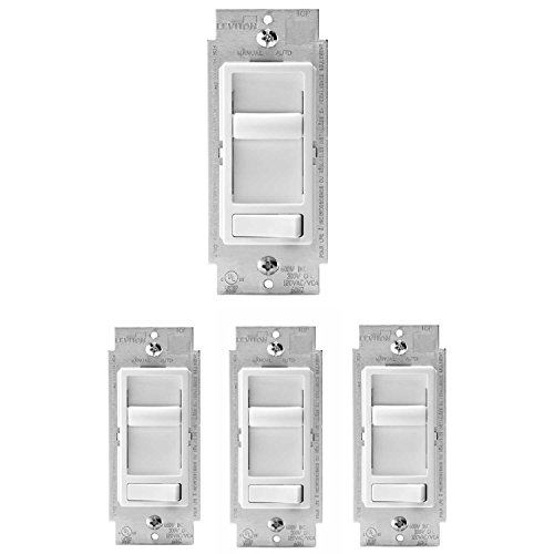 Leviton - R62-06674-P0W Universal Incandescent Slide Dimmer, White (4 Pack)