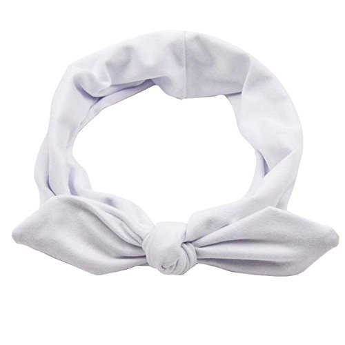Pop Your Dream Vintage Adults Elastic Headband Cute Bunny Ears Bow Stylish Hairband Twisted Hair Decor Accessory White -
