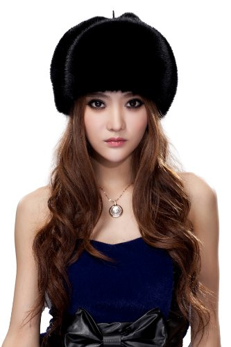 URSFUR Women's Black Mink Full Fur Russian Ushanka Hats by URSFUR
