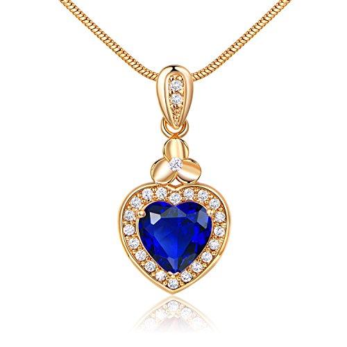GULICX Hear shape Gold Tone Blue Sapphire Color Agate love Pendant Necklace Women