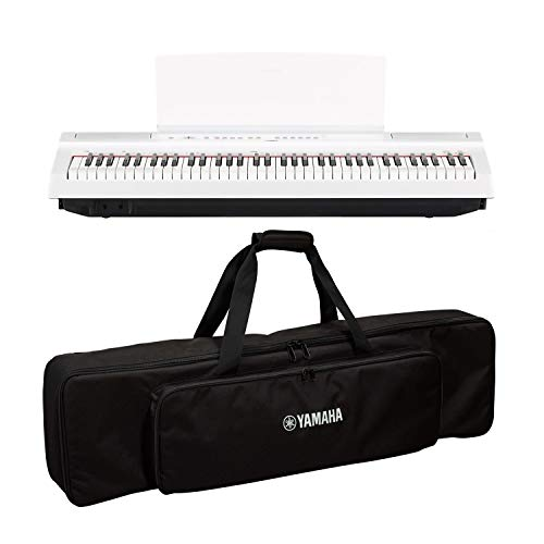 Yamaha P121 73-Key Weighted Action Digital Piano – White with SC-KB750 Soft Case for P-121