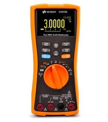 Keysight Technologies U1273A Handheld Digital Multimeter, 4.5 Digit, Water and Dust Resistant