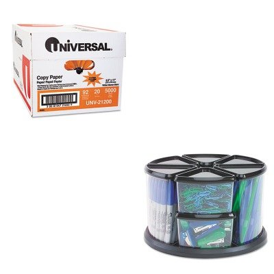 KITDEF39010104UNV21200 - Value Kit - Deflect-o 9 Canister Carousel Organizer (DEF39010104) and Universal Copy Paper (UNV21200)