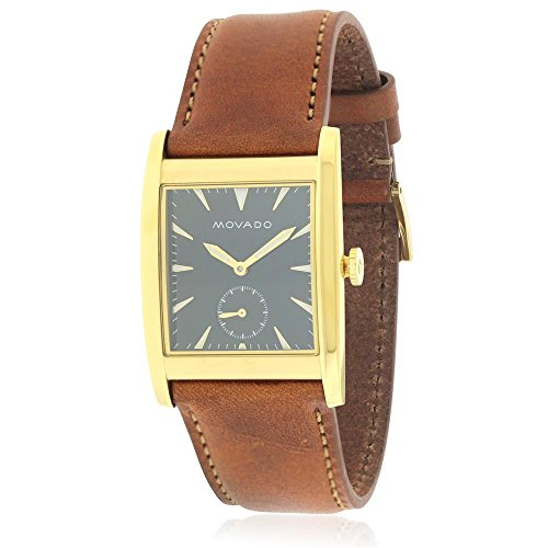 Men's Heritage Brown Leather Band Steel Case Sapphire Crystal Swiss Quartz Blue Dial Watch - Movado 3650043