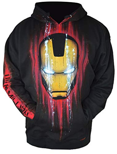 Airbrushed Hoodie Inspired by Iron Man from The Avengers Endgame Kids Large Black ()