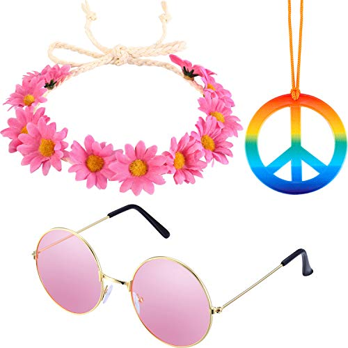 3 Pieces Hippie Accessory Set includes Rainbow Peace Sign Necklace, Flower Crown Headband, Hippie Sunglasses for Women -