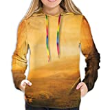 GULTMEE Women's Hoodie,Mysterious Valley with Mushrooms and Falling Leaves Bird House Fall Forest,Lady