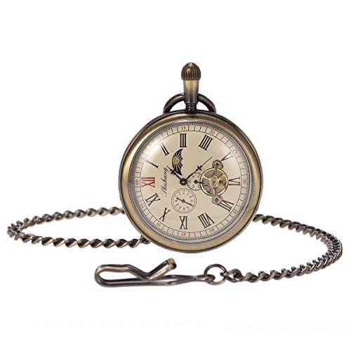 Skeleton Pocket Watch - Horizontal Open Face Phases Moon Sun 24-Hour Coper Chain by ManChDa (Image #5)'