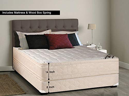Continental Sleep, 14-inch Firm Eurotop Innerspring Mattress and 8-inch Box Spring/Foundation Set, Queen Size ()