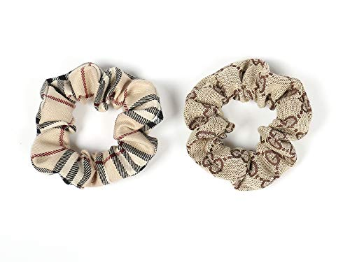 - Girliber Scrunchies Set, Checkered and Brown Scrunchies, Ponytail Holder, Elastic Band